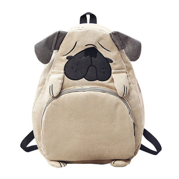 Cute Designer Dog Ear Embroidered Corduroy Canvas Women Backpack Student School Bag For Teenagers Girls Travel Backpack