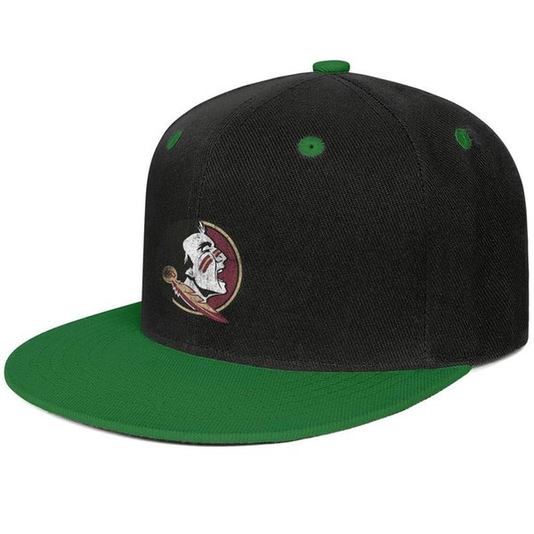Florida State Seminoles football old Print logo Green mens and women hip-hop flat brim cap design designer golf design your own fitted cust