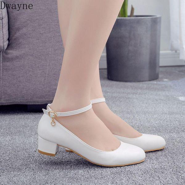 3cm Low-Heel Pumps Square Heel Round Head Single Shoes Elegant White Wedding Shoes Party High Heels Womens Plus Size 41,42