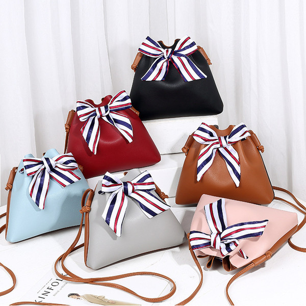 best selling 5Styles Ribbons Stripe Bows bag Messenger Bag Solid Flap Double Use PU Bucket Phone Coin Shoulder Bag Casual Travel Storage handBag FFA1840