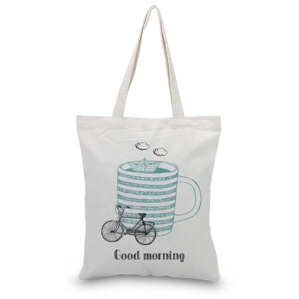 Tote da lona Sacos de Ombro Bolsas Saco De Compras Uso Diário Dos Desenhos Animados Da Bicicleta Logotipo Da Cópia Personalizada DIY Eco Reutilizável Reciclar