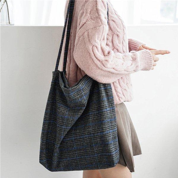 autumn & winter women woolen canvas shoulder bag ladies vintage plaid handbag totes female cotton wool cloth shopping bags