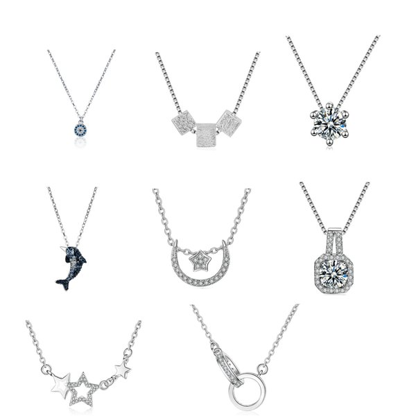 Lot Styles 925 silver jewelry fashion women lovely beautiful pendant necklace Korean jewelry wholesale item