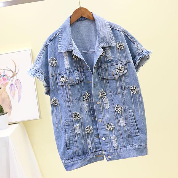 Kadın Bahar Sonbahar 2019 Yeni Moda Ağır Delikli Şerit Delik Piercing Jean Ceket Kolsuz Kısa Ceket Kadın Yelek Yelekler