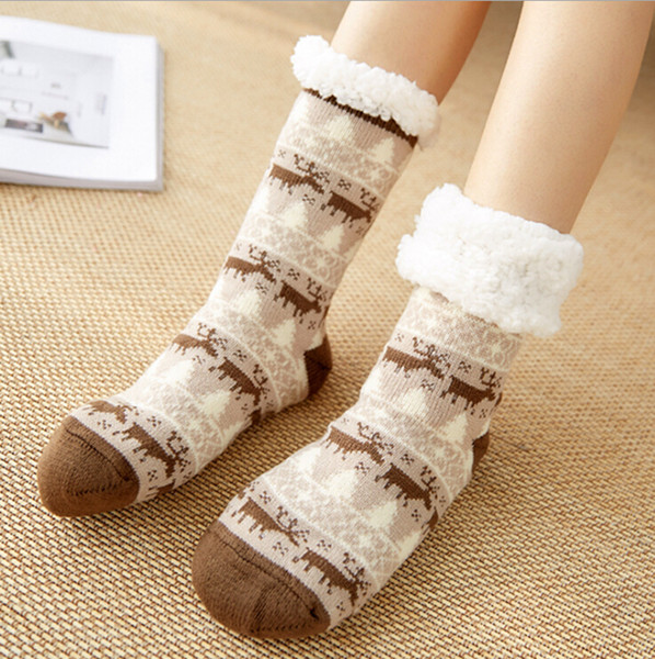 Christmas Thicken Women Plush Home Shoes Slippers Coral Fleece Indoor Floor Sock Indoor Slipper Winter Foot Warmer Soft Anti-slip Socks