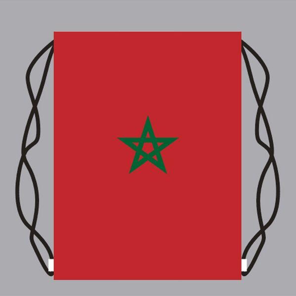 30*45 cm Drawstring Bag Kids Backpack with Morocco flag Gift Bags School Travel Storage Bags foorball fans bag