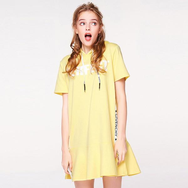 Casual Floral Impresso Vestido Mulheres carta Doce impresso amarelo sexy vestido de moletom com capuz manga Curta roupas de verão