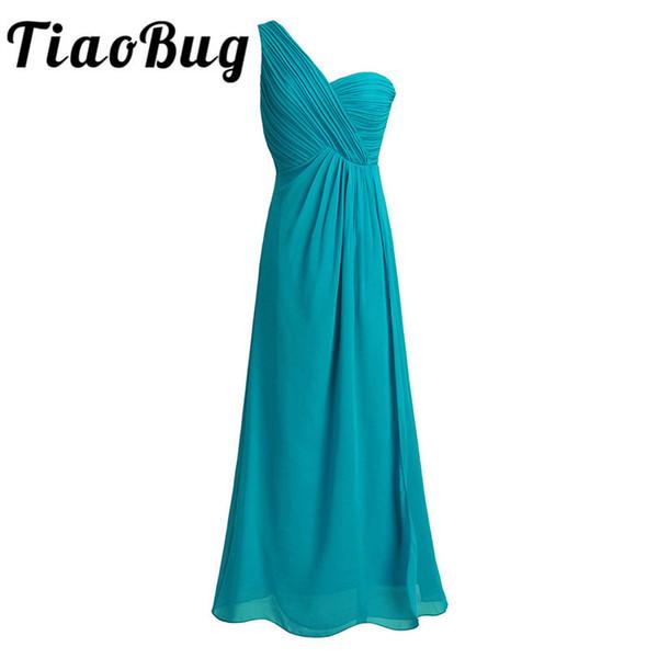 Tiaobug One Shoulder A Line Bridesmaid Dresses Long Chiffon Wedding Guest Princess Floor Length Teal Navy Blue Pink Dresses J190618