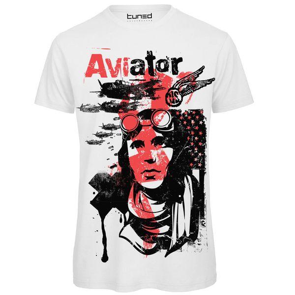 T Shirt Divertente Uomo Maglietta Cotone Con Stampa Colorata Aviazione Aviator Loose Black Men T Shirts Homme Tees
