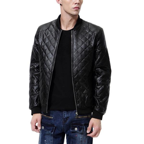 Luxury PU leather autumn foreign trade new England stand collar men's diamond wash leather jacket coat windbreaker