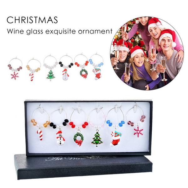 yığın kolye Damla Süsler Hoomall 6PCS / Kutu Karışık Şarap Charms Ana Tablo Düğün Champagne Ağacı Snowman Noel Süsleri ...