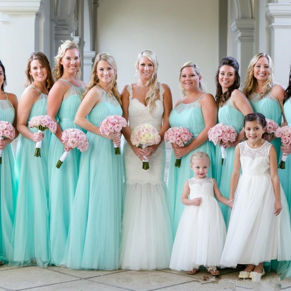 Cheap Fashion Light Turquoise Halter Bridesmaids Dresses Plus size Beach Tulle Wedding Guest Party Dress Long Pleated Evening Gowns
