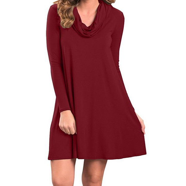 Casual Track Mini Dress Solid Long Sleeve Turtleneck A line Dresses For Women New Spring WS5080U
