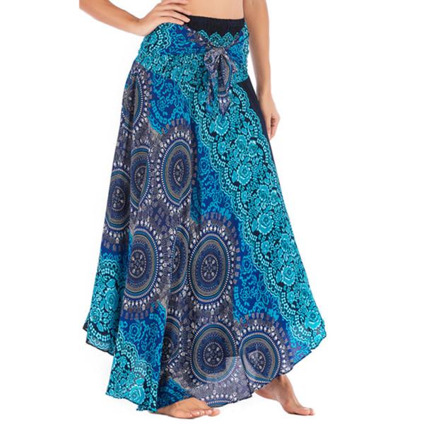 Women Flowers Elastic Waist Floral Halter Summer Skirt Long Hippie Bohemian Chiffon Pink Ruffle Women's Clothing Long Skirts