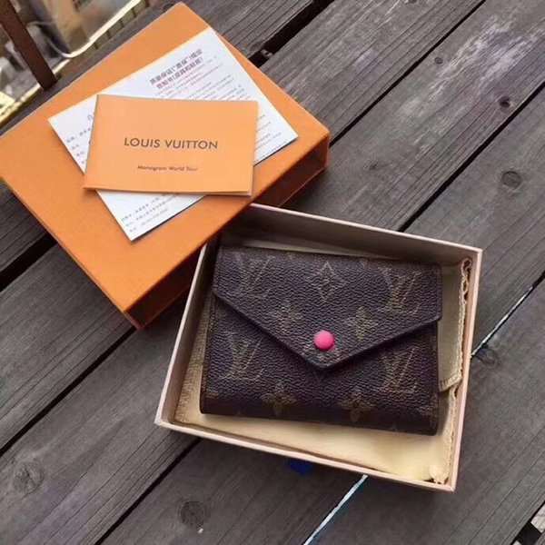 Luxury Designer Plaid Wallet For Women Emilie Button Short Wallets with Box 5A+ Quality Ladies Card Pouch Round Coin Purse #5402