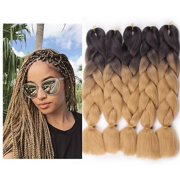 Moda Jumbo Twist Africano Trança de Cabelo de 24 Polegadas 1 pçs / pacote Afro Tranças Sintéticas Jumbo Ombre Kanekalon Extensão Do Cabelo Da Fibra