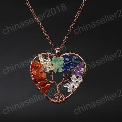 7 Chakra Quartz Natural Stone Necklace Tree of Life Pendulum Charm Pendant Necklace for Women Healing Crystal Necklaces Reiki Jewelry