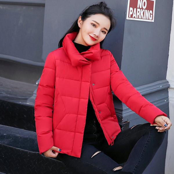 Donna Cappotti caldi Autunno Studente Moda Parka imbottita in cotone Vestiti per il pane Giacche invernali rosa, rosse, grigie, nere