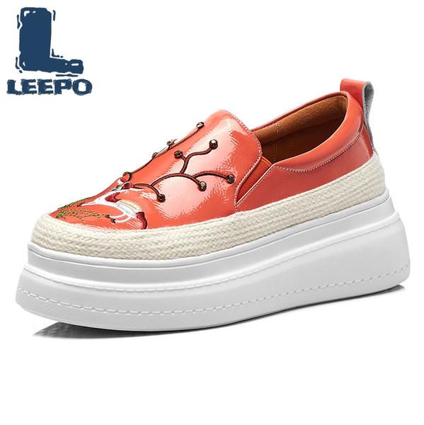 LEEPO Printemps Plate Plate Mocassins Chaussures Femme De Luxe En Cuir Véritable Imprimé Animal Plateforme Chaussures Dames Automne Mocassins Femmes