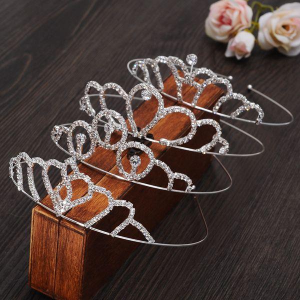 Venda quente Clássico Noiva Headpieces diamante Bonito Meninas Coroas Tiaras de Cristal para o Casamento e Presente Novo estilo de jóias cabelo Frete grátis