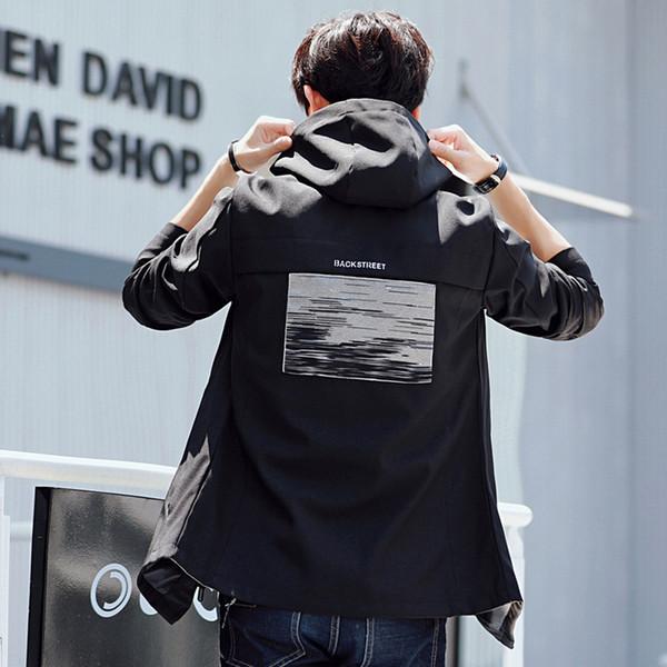 Pop2019 Korean Self-cultivation Long Thin Section Even Hat Loose Coat Cool Time Wear Spring Pattern Men's Jacket
