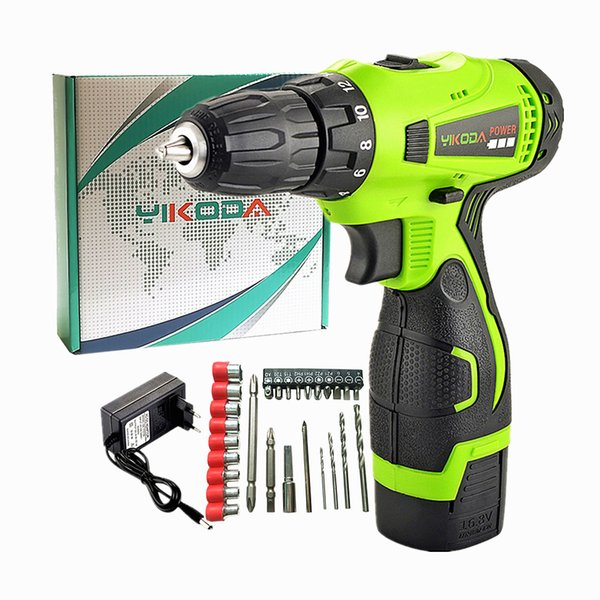 top popular 16.8V Cordless Drill Electric Screwdriver One Lithium Battery DIY Household Decoration Tool Multi-function Carton Plus Accessories 2021