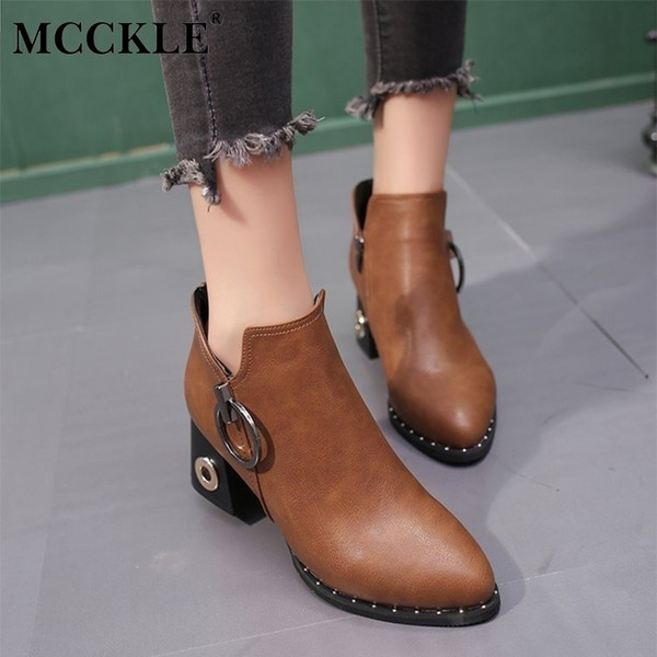 Dress Shoes Mcckle Women Winter Rivets Platform Ankle Boots Female Fashionable Zipper High Heels Pumps Ladies Casual Party Footwear