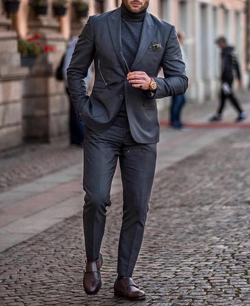 New Popular Dois Botões Cinza Escuro Do Noivo Smoking Pico Lapela Slim Fit Padrinhos de Casamento Homens Ternos Do Partido (Jacket + Pants + Tie) 038