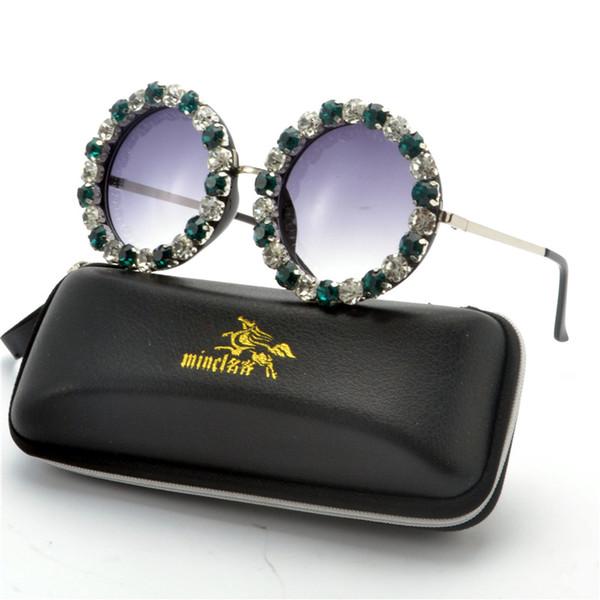 Round Fashion Sunglasses Women Diamond Brand Designer Metal Frame Sun Glasses ladies Oversized Party Glasses FML