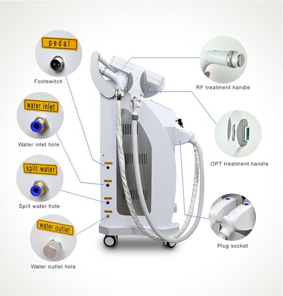 Tela dupla profissional combinar opt + nd laser yag + rf em uma máquina multifuncional depilação remoção do tatuagem remoção da pele do laser