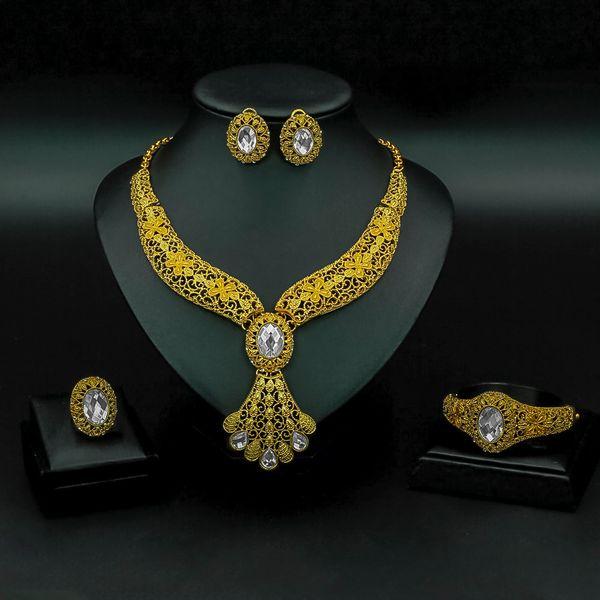Liffly Fashion Set de joyería nupcial para mujer Regalos Dubai Gold Wedding African Beads Conjunto de joyería Collar de marca Accesorios