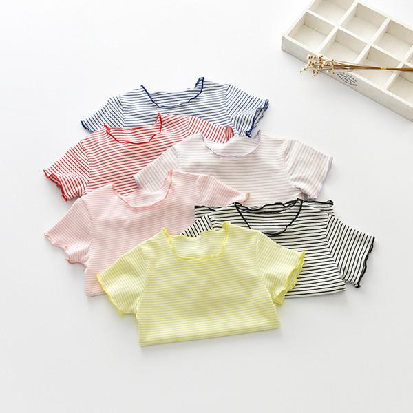 top popular Years of the New Summer Childrens Clothing Girls T-shirt Short Sleeve Shirt Bottoming Shirt Female Baby Striped Shirt Girls Jacket 2021