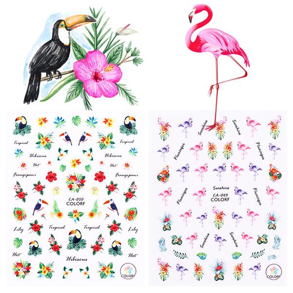 1 Sheet Flamingo 3D Nail Stickers Toucan Tropical Flower Bird DIY Nail Art Adhesive Transfer StickerDecoration Accessories