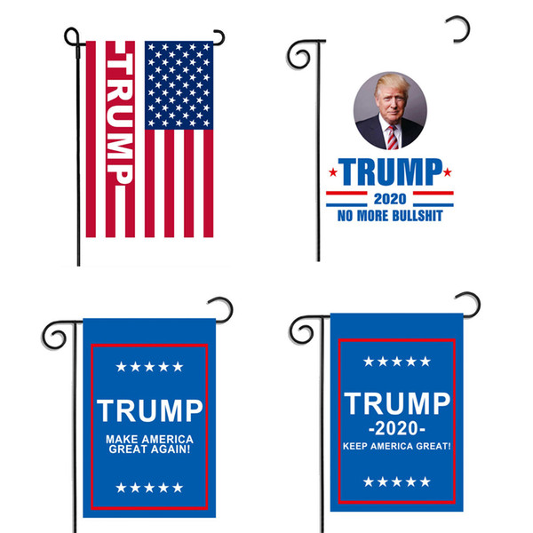 "top popular Trump Garden Flags 30* 45CM USA President General Election Banner 2020 Trump Flag Polyester Cloth Pennant Banner Flags 12""x18"" 2019"