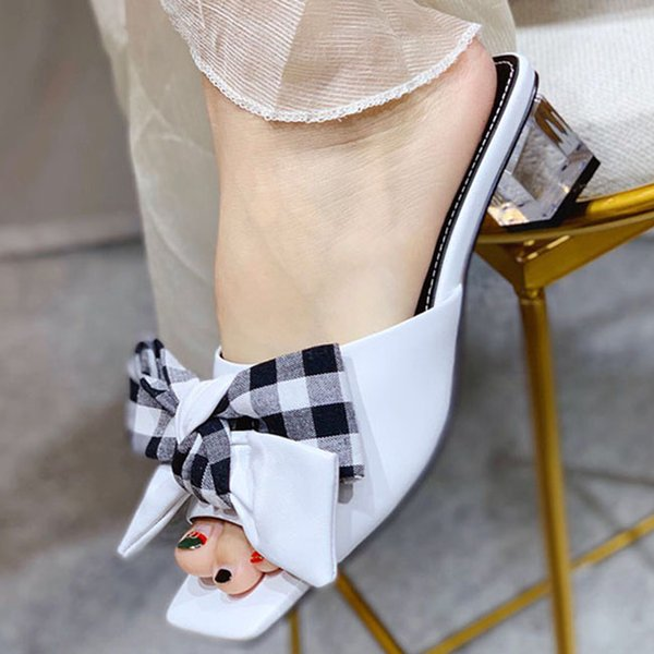 Fashion and Quality Female Slipper Shoes Wedges Transparent High Heel Slipper Summer Butterfly-knot Wild Women Slipper Crystal Sandals