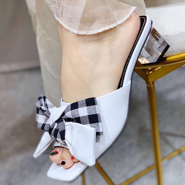 Mode und Qualität Weibliche Pantoffel Schuhe Wedges Transparent High Heel Slipper Sommer Schmetterling-Knoten Wilde Frauen Slipper Kristall Sandalen