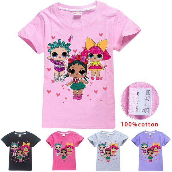 LOL Dolls Kids Tee shirts 5 Colors 4-12t Kids Girls Cartoon Printed 100% Cotton T shirts Tees kids designer clothes girls SS215