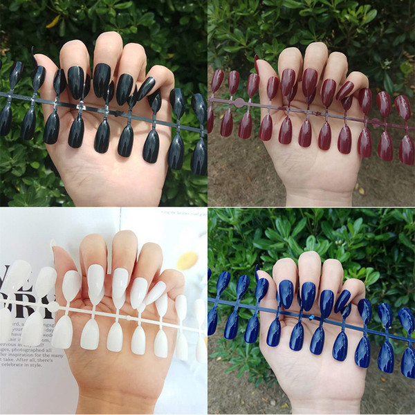 top popular Shiny False Nails Popular Designs Glue On 24pcs Tip Patch Pure Color Nail Chip Extensions Artificial Nail Art Accessories TJP707 2021
