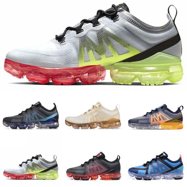 nike Vapormax 2019  designer homme 2019 Sneakers Canyon Gold Aluminium Bleu Hommes Femmes Noir Rouge Blanc Entraîneur Chaussures de course à pied