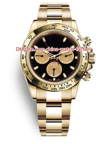 10 Estilo Venda Quente Relógio de Alta Qualidade 40mm Cosmograph 116508 116528 Nenhum Cronógrafo 18k Ouro Amarelo Mecânico Automático Mens Relógios Masculinos