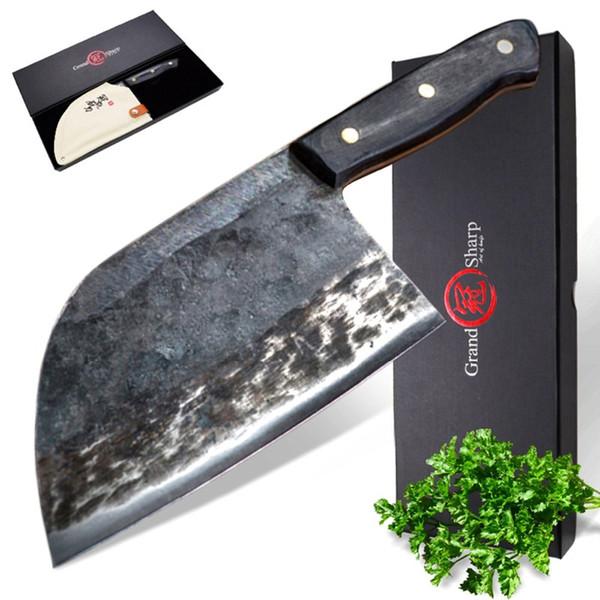 Manico forgiato fatto a mano a 7 pollici del coltello del cuoco unico Manna cinese forgiata d'acciaio ad alto tenore di carbonio Coltelli professionali del cuoco unico della cucina con la scatola di regalo