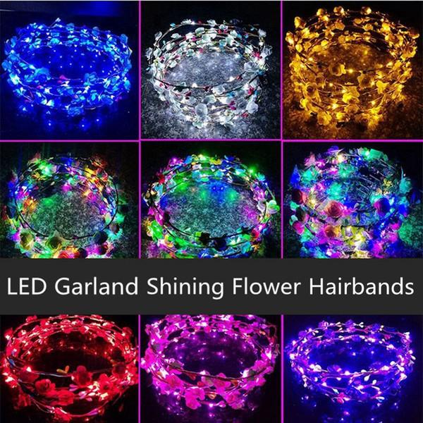 LED Işık Hiarbands Çelenkler Glow Çiçek Taç Çocuk Parlayan Garland Taç Kafa Aksesuarları için Parti Cadılar Bayramı Dekorasyon HA401