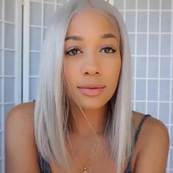 Kadın Kısa Bob Düz Peruk Parti Sarışın Ve Şerit Gri Orta Kısmı Yüksek Sıcaklık Fiber Sentetik Saç Peruk
