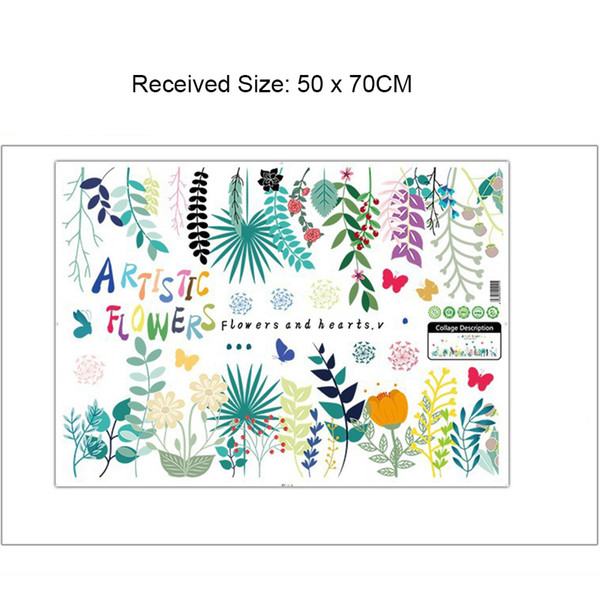 Artistic Flowers Wall Border Decals Home Decor Skirtingline Wall Mural Poster Green Plants Wall Appliques Self-adhesive Graphic