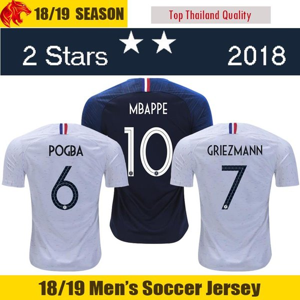 18 19 MBAPPE Futbol Formaları THAUVIN 2018 2 yıldız 2019 MATUIDI GRIEZMANN Futbol Forması DEMBELE Futbol Forması GIROUD POGBA Futbol Forması