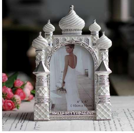 Hot Selling Newest 6 Inch Metal Frame Diamond Castle Wedding Frame Photo Gallery Birthday Gift Pose Photo Frame for Wedding