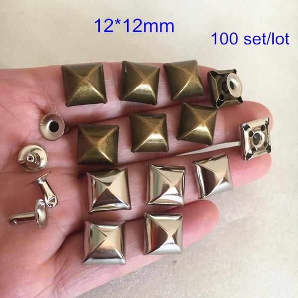 100 sets Plump Pyramid Rivet Spike With Base,12*12mm Square Metal Rivet Studs Punk Style DIY Rivets,Antique Bronze / Silver