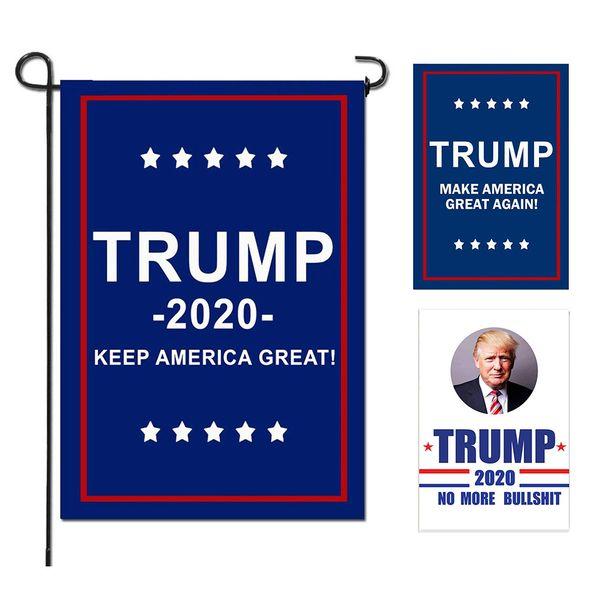 Trump Garden Flaggen Präsident Parlamentswahl Banner 2020 Trump Flag Polyester Tuch Kunststoff Fahnenmast Wimpel Banner Flaggen 30 * 45 cm MMA1715
