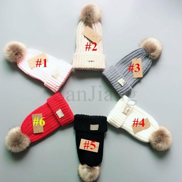 Мода девочек Fur Ball Beanie Дизайнерские Шляпы Австралия UG Luxury Wool Шапочки Изменяемая Venonat Cap UG Knit Skull Cap Детские шапки Лыжные B9402