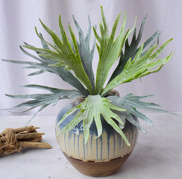 one Artificial Antler Leaf 38cm Fake Flocking Deer Horn Plant Plastic Greenery 9 leaves per bunch for Green Wall Decoration Grass